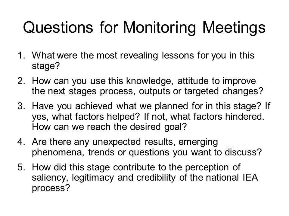 Questions for Monitoring Meetings