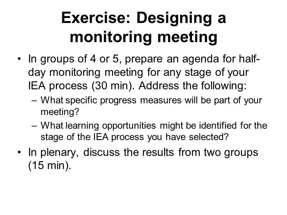 Exercise: Designing a monitoring meeting