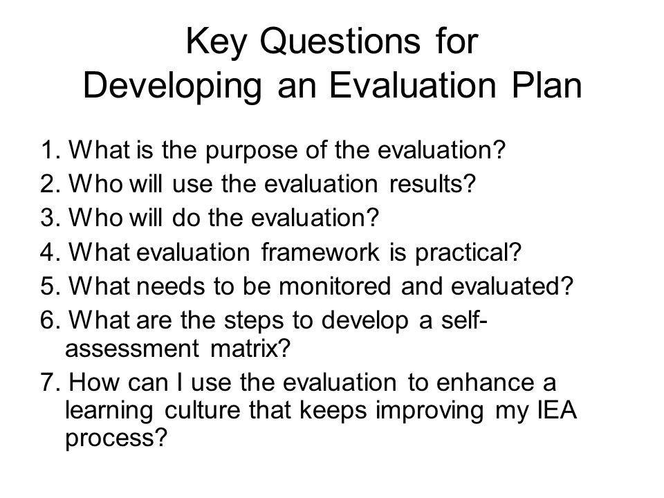 Key Questions for Developing an Evaluation Plan