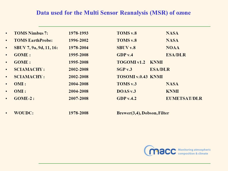 Data used for the Multi Sensor Reanalysis (MSR) of ozone