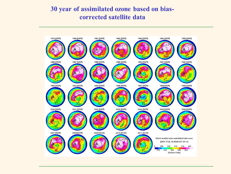 30 year of assimilated ozone based on bias-corrected satellite data
