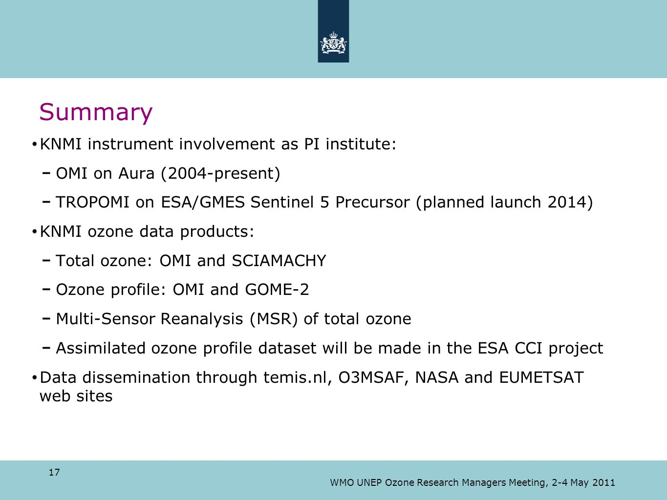 Summary KNMI instrument involvement as PI institute: