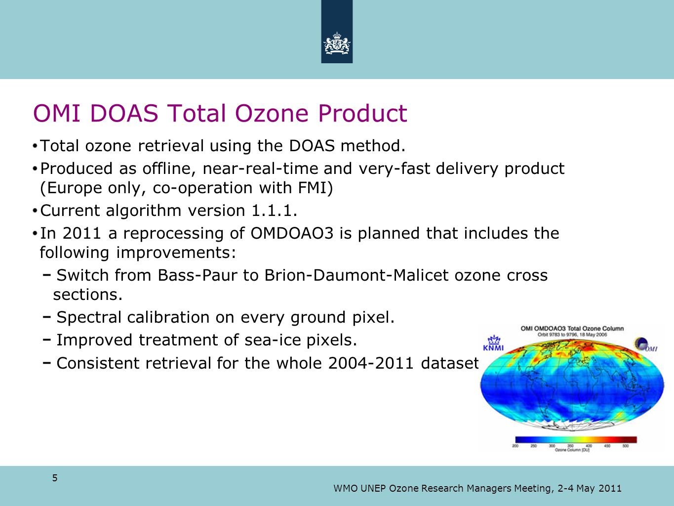 OMI DOAS Total Ozone Product