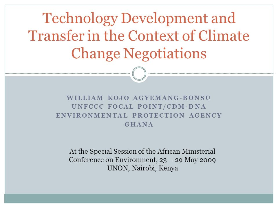 Technology Development and Transfer in the Context of Climate Change Negotiations