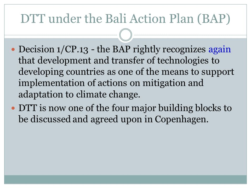 DTT under the Bali Action Plan (BAP)