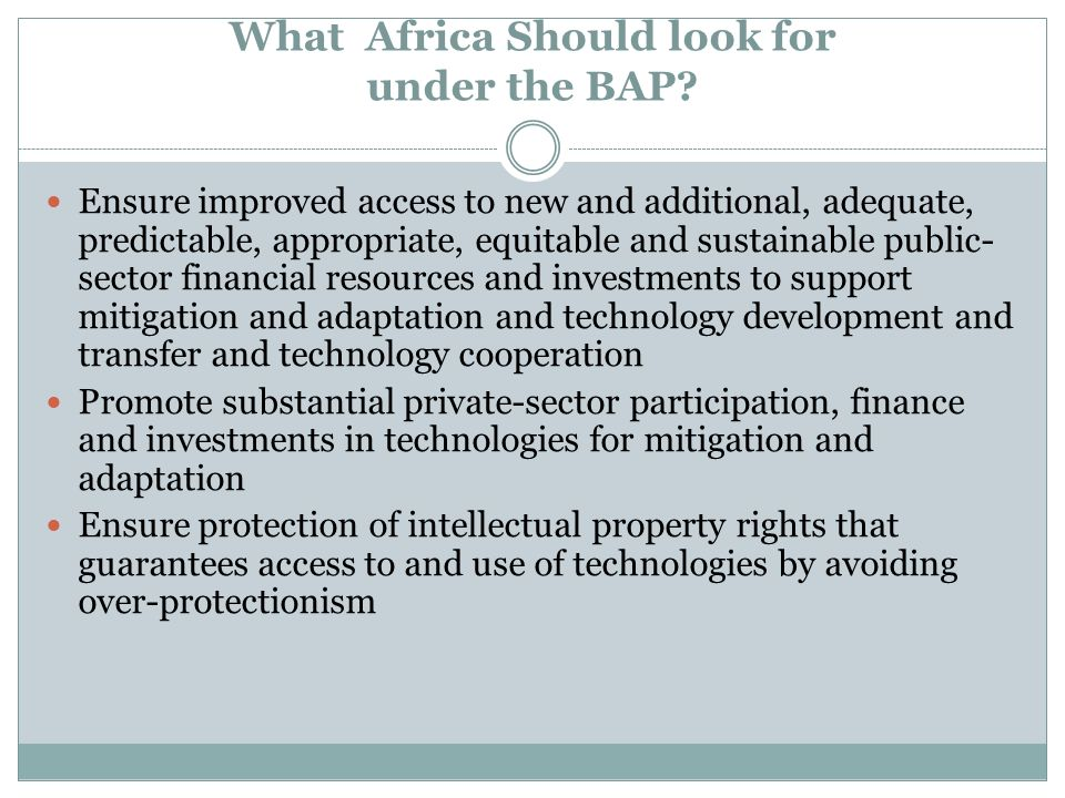 What Africa Should look for under the BAP