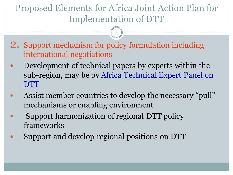 Proposed Elements for Africa Joint Action Plan for Implementation of DTT