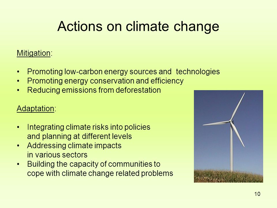 Actions on climate change