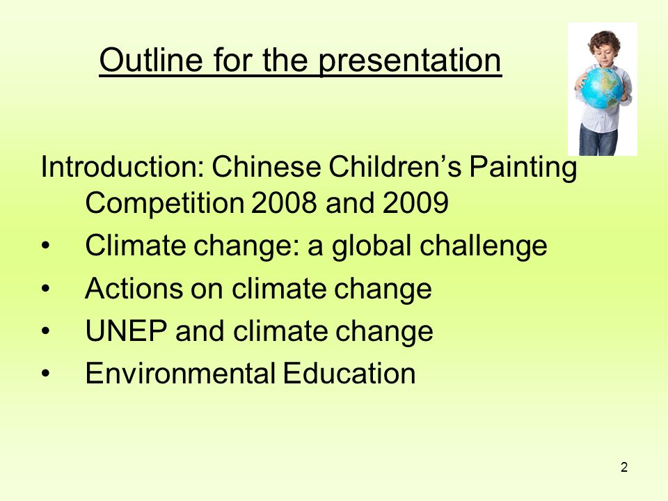 Outline for the presentation