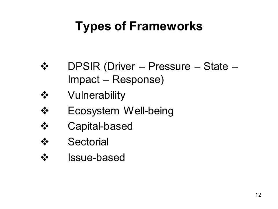 Types of Frameworks DPSIR (Driver – Pressure – State – Impact – Response) Vulnerability. Ecosystem Well-being.
