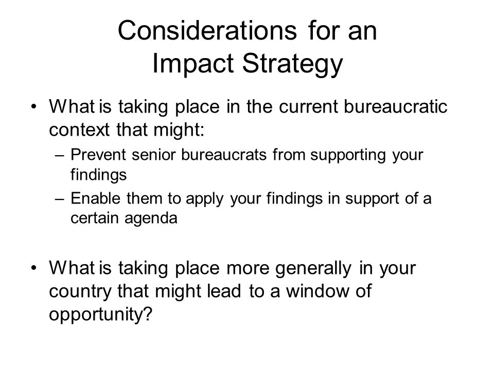 Considerations for an Impact Strategy