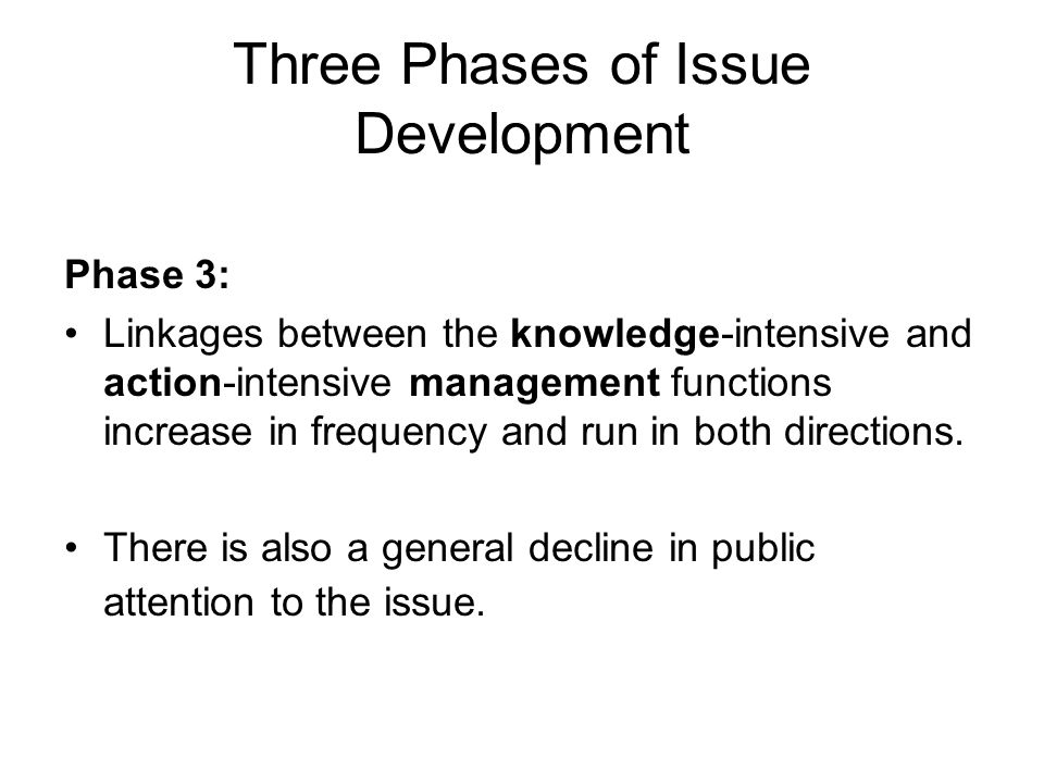 Three Phases of Issue Development
