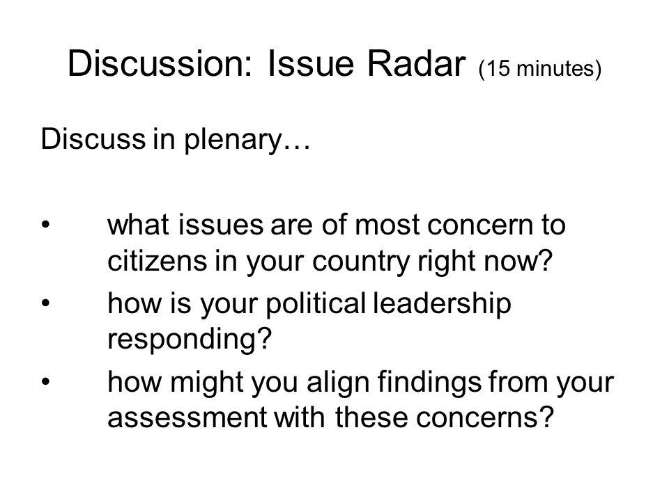 Discussion: Issue Radar (15 minutes)