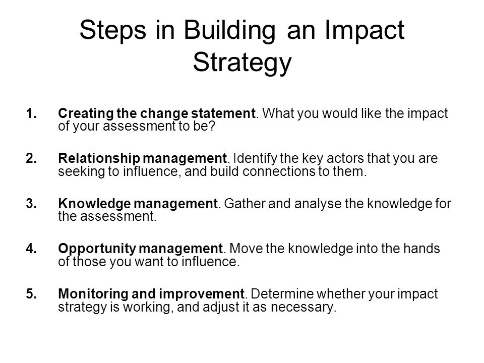 Steps in Building an Impact Strategy