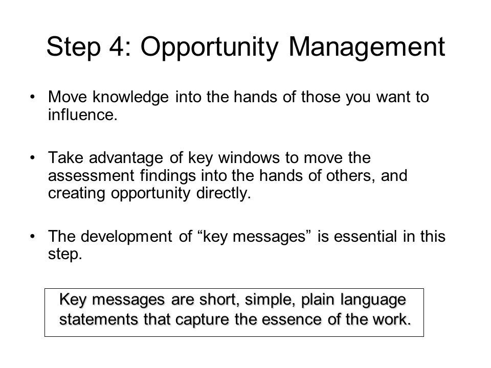 Step 4: Opportunity Management