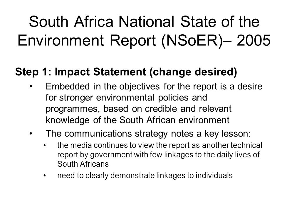 South Africa National State of the Environment Report (NSoER)– 2005