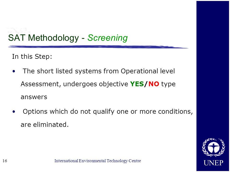 SAT Methodology - Screening
