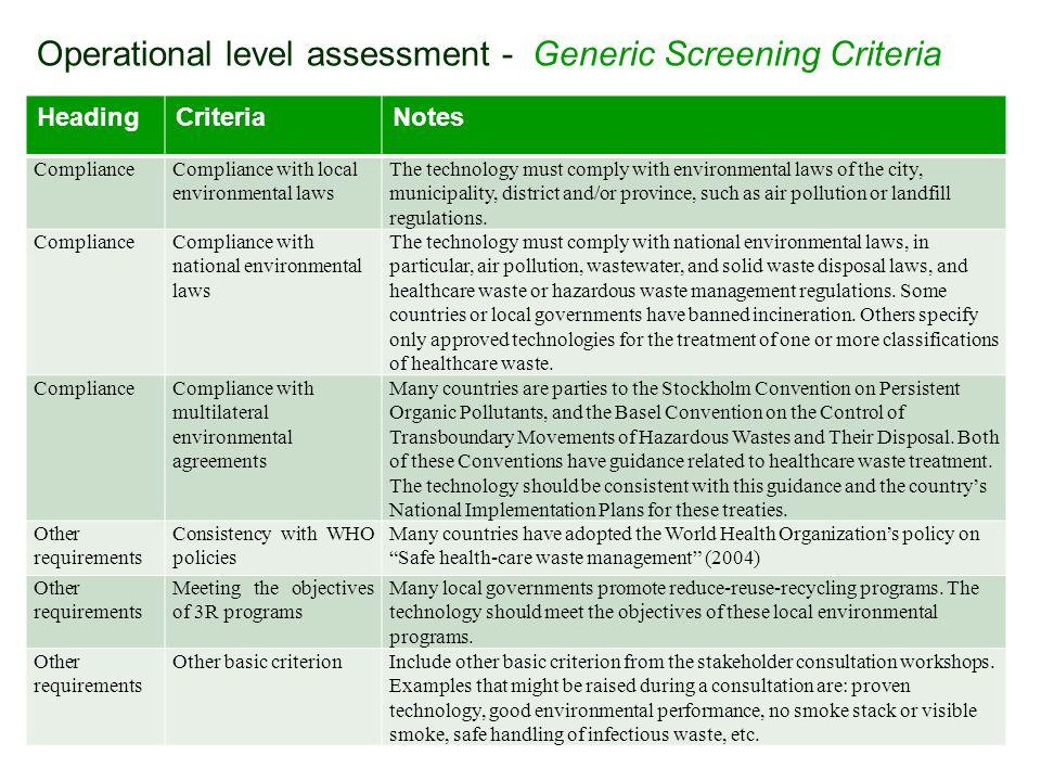 Operational level assessment - Generic Screening Criteria