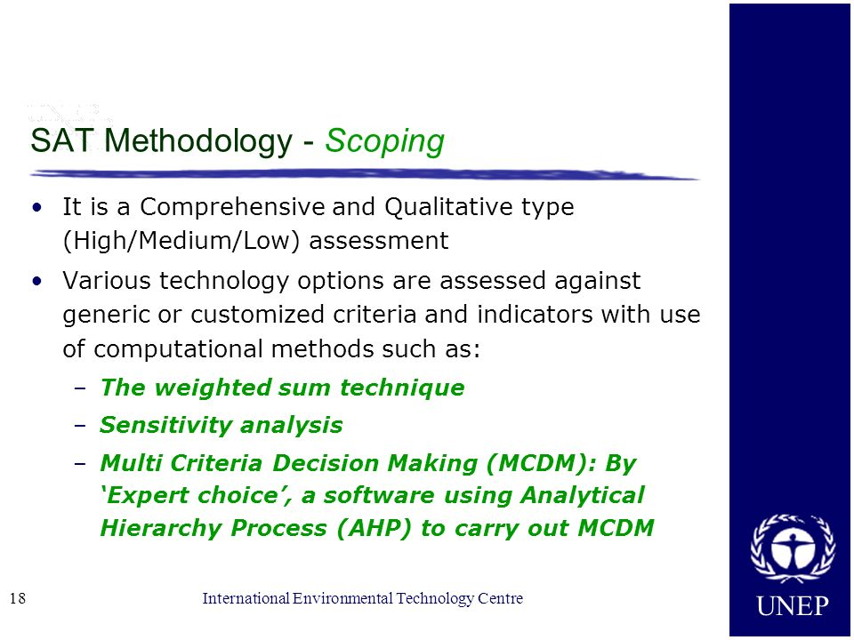 SAT Methodology - Scoping