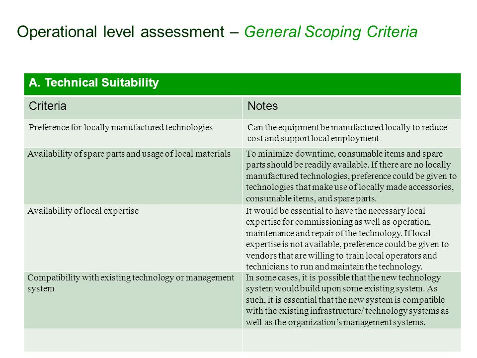 Operational level assessment – General Scoping Criteria