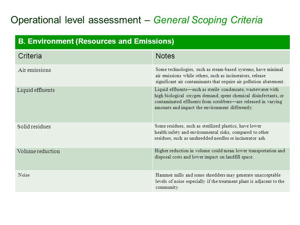 Operational level assessment – General Scoping Criteria