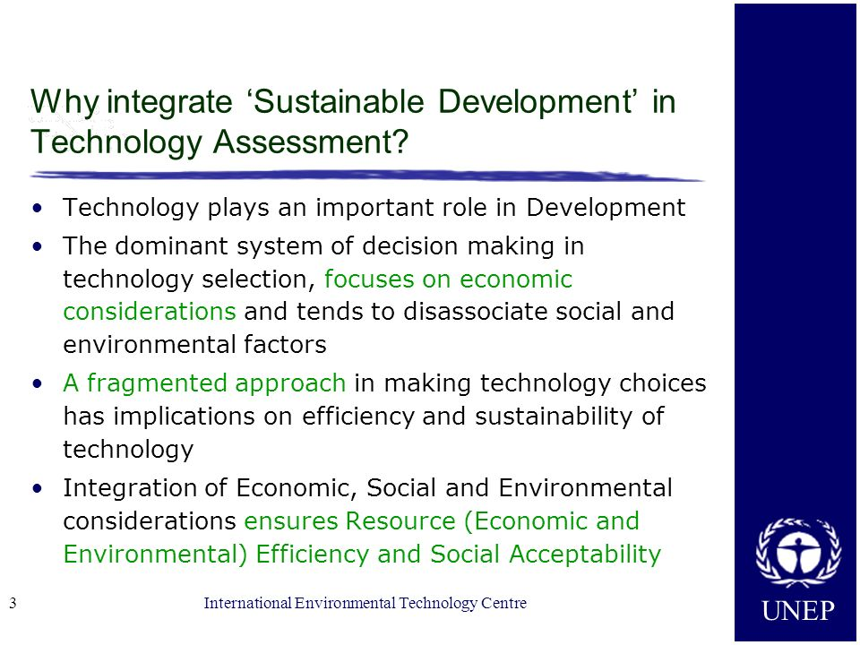 Why integrate 'Sustainable Development' in Technology Assessment