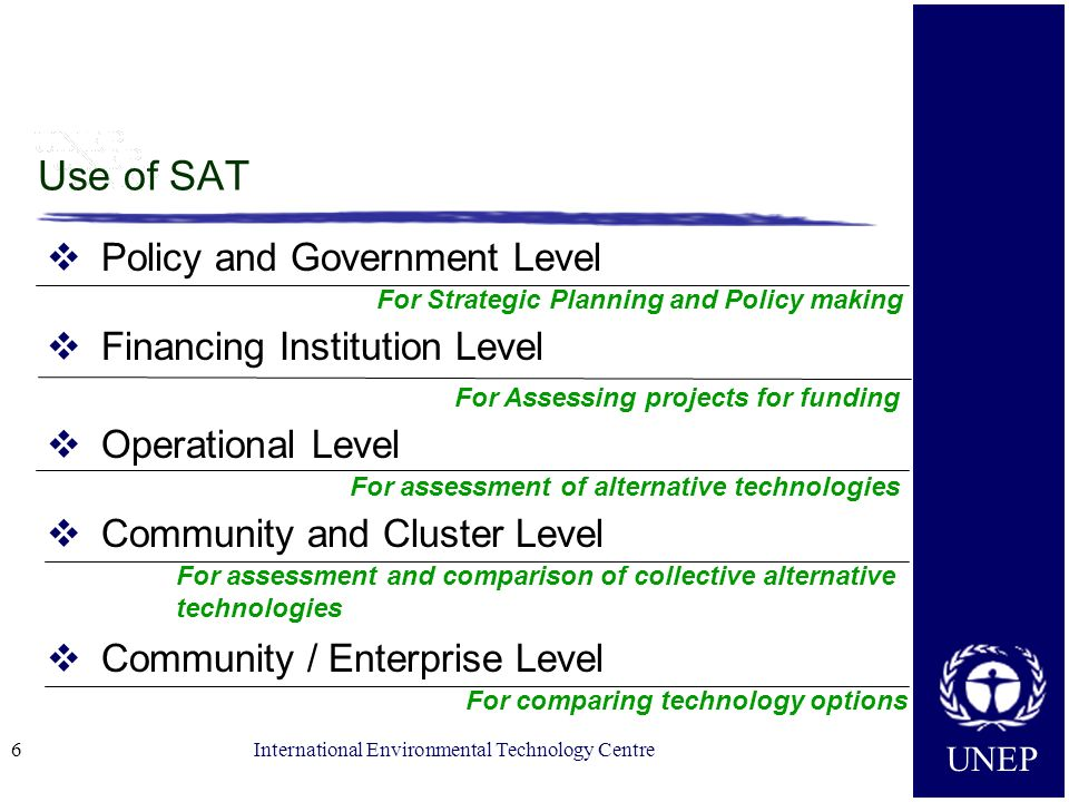 Use of SAT Policy and Government Level Financing Institution Level