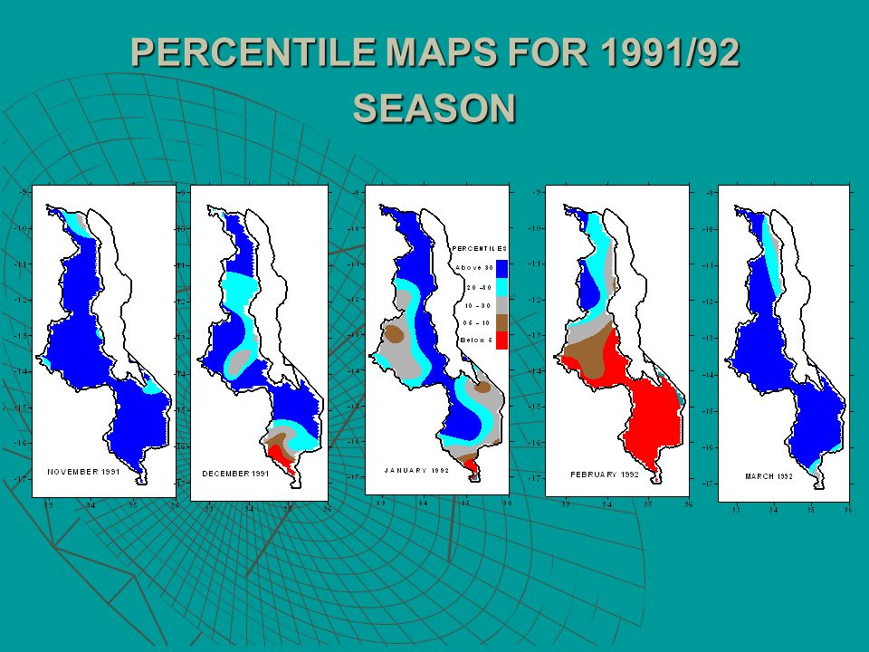 PERCENTILE MAPS FOR 1991/92 SEASON