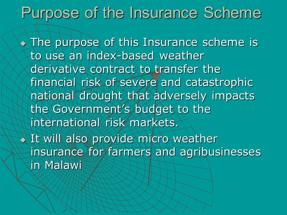 Purpose of the Insurance Scheme