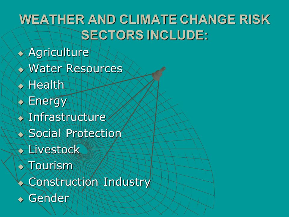 WEATHER AND CLIMATE CHANGE RISK SECTORS INCLUDE: