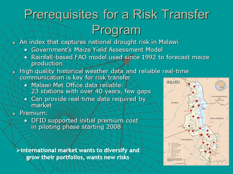 Prerequisites for a Risk Transfer Program