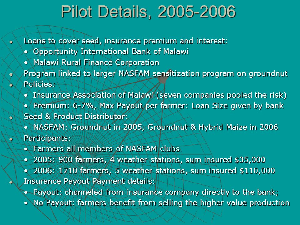 Pilot Details, 2005-2006 Loans to cover seed, insurance premium and interest: Opportunity International Bank of Malawi.