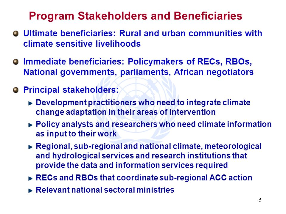 Program Stakeholders and Beneficiaries