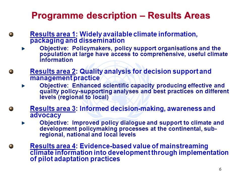 Programme description – Results Areas