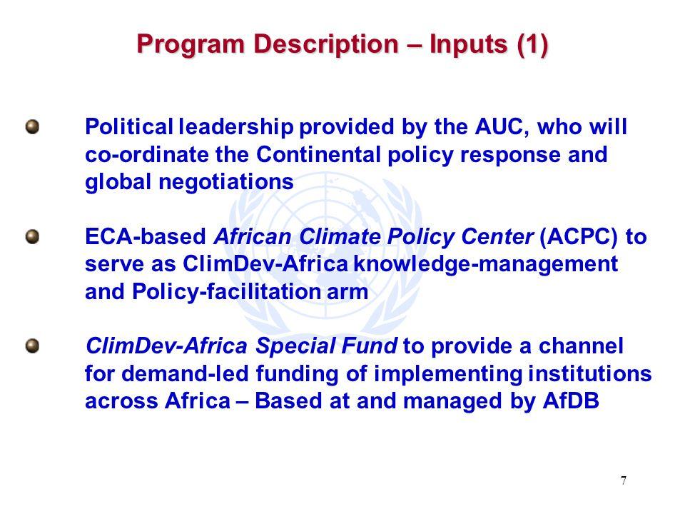 Program Description – Inputs (1)
