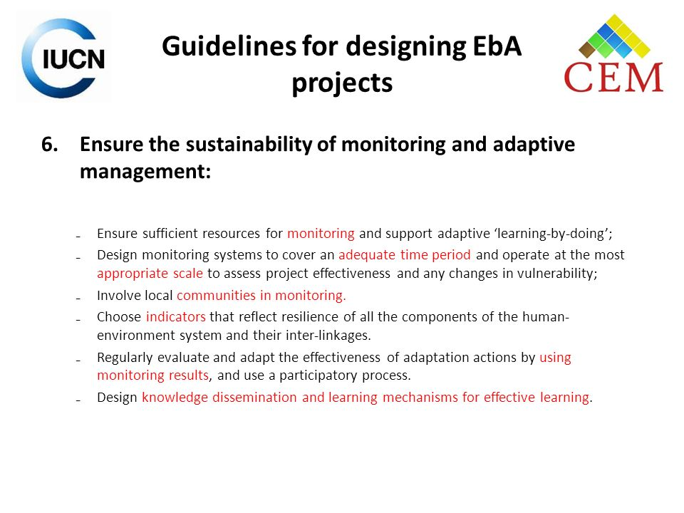 Guidelines for designing EbA projects