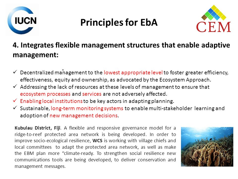 Principles for EbA 4. Integrates flexible management structures that enable adaptive management:
