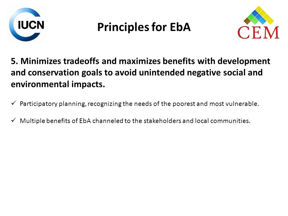 Principles for EbA