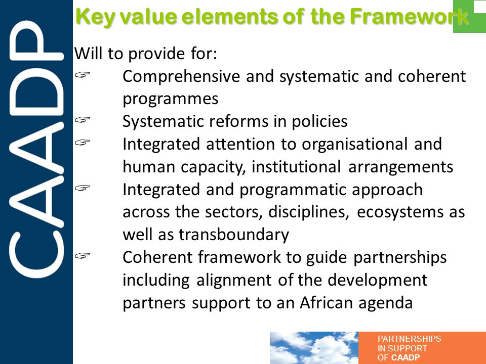 Key value elements of the Framework