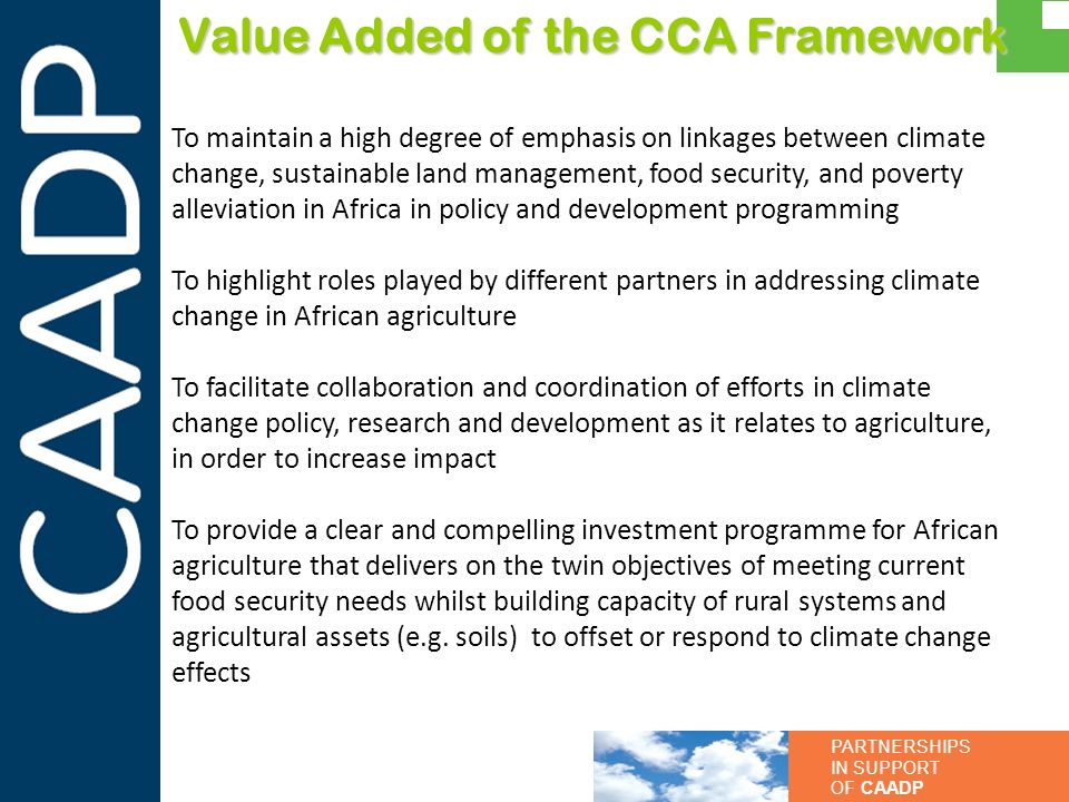 Value Added of the CCA Framework