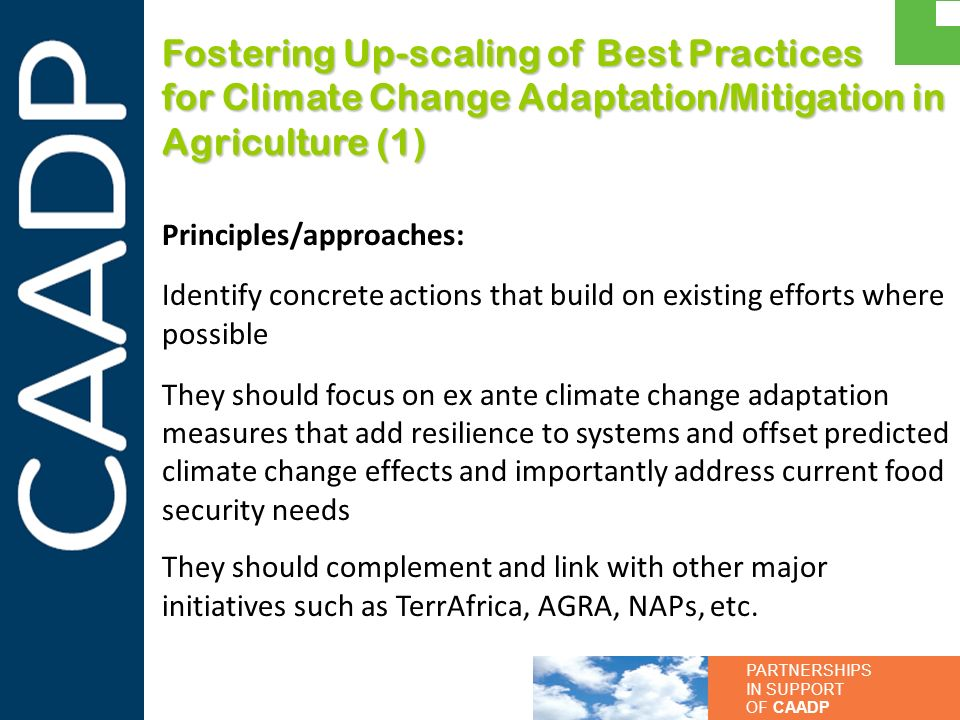 Fostering Up-scaling of Best Practices for Climate Change Adaptation/Mitigation in Agriculture (1)