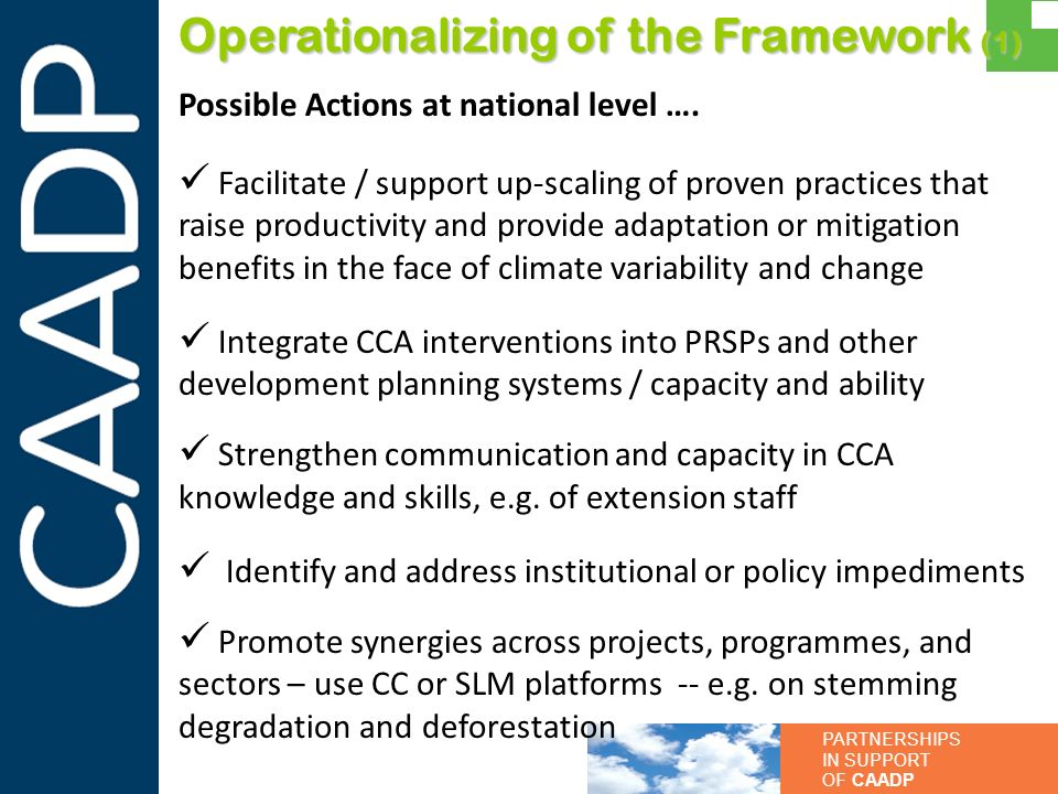 Operationalizing of the Framework (1)