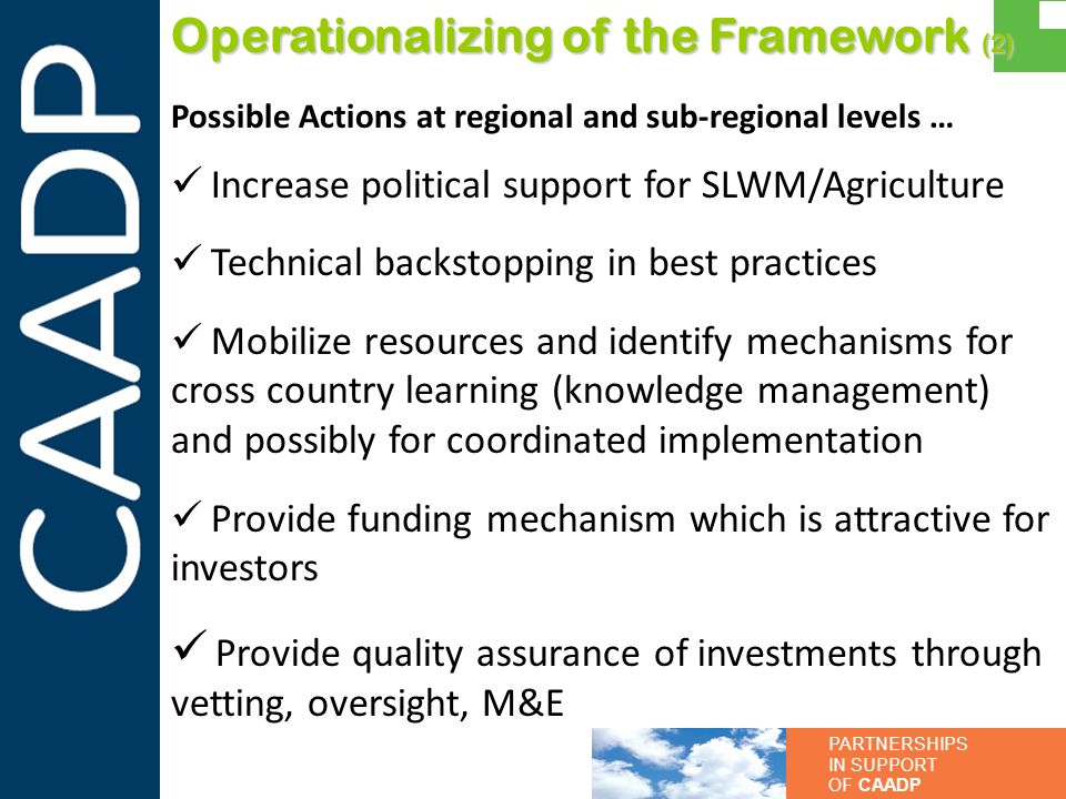 Operationalizing of the Framework (2)