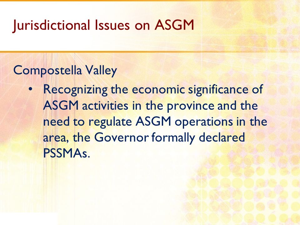 Jurisdictional Issues on ASGM
