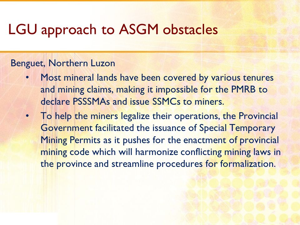 LGU approach to ASGM obstacles