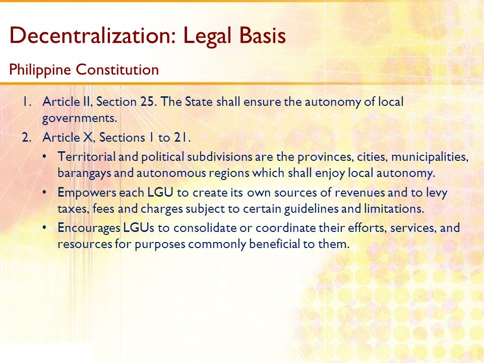 Decentralization: Legal Basis