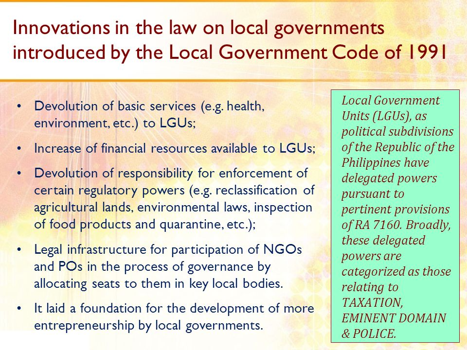 Innovations in the law on local governments introduced by the Local Government Code of 1991