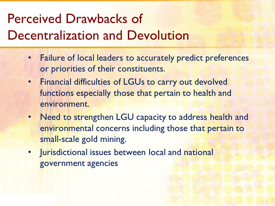 Perceived Drawbacks of Decentralization and Devolution