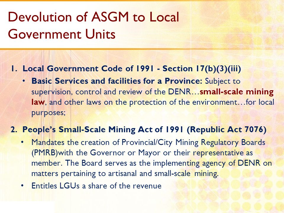 Devolution of ASGM to Local Government Units