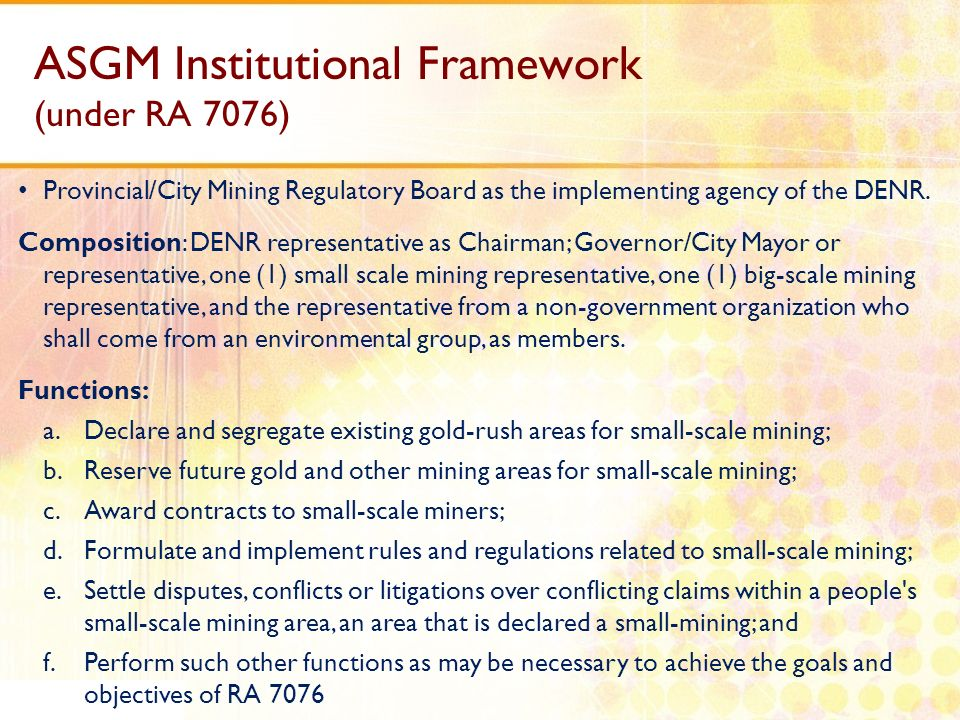 ASGM Institutional Framework (under RA 7076)